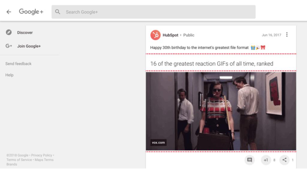 Hubspot Google + screenshot