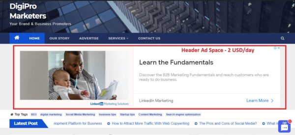 Header Ad Space at Digipro Marketers